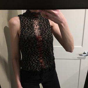 Knit mock neck tank